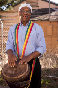 Fred Simpson, the instructor for the African Drum Ensemble. Photo by Richard Sweeting.