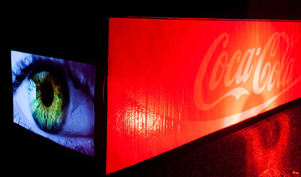 Coca-Cola piece with a video attached to the side. Photo by Whitney Wernick.
