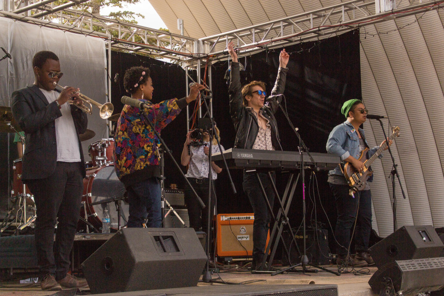 Ardaya performing at Quadstock. From left to right  Njaveva Bingana, Rachel Dupard, Aidan McDaniel, and Ricky Rubio. Not pictured, Dennis Brumback – Lead Guitar, and Josh Buchignani – Drums. Photograph by Marco Rivera