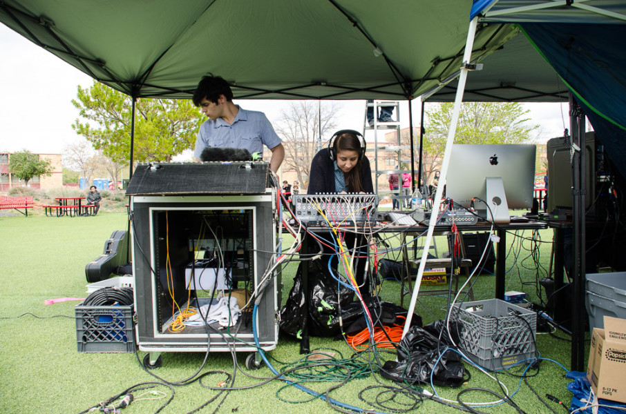 Nicholas Quintero and Taressa Martinez work the sound table. Photo by Rebeca Gonzalez