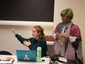 Photo Society President Hawie Reyne Veniegas (on right) and Secretary Jennifer Rapinchuk hold the first meeting of the fall semester to discuss the society's upcoming events and exhibitions. Photo by Chris Dorantes