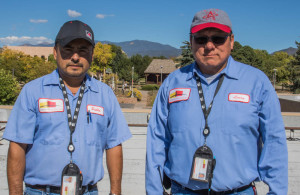 Facilities Supervisor Pablo Negreros (left) and Safety and Security Manager Larry Samuel lead the maintenance and security crews at SFUAD. Photo by Chris Dorantes