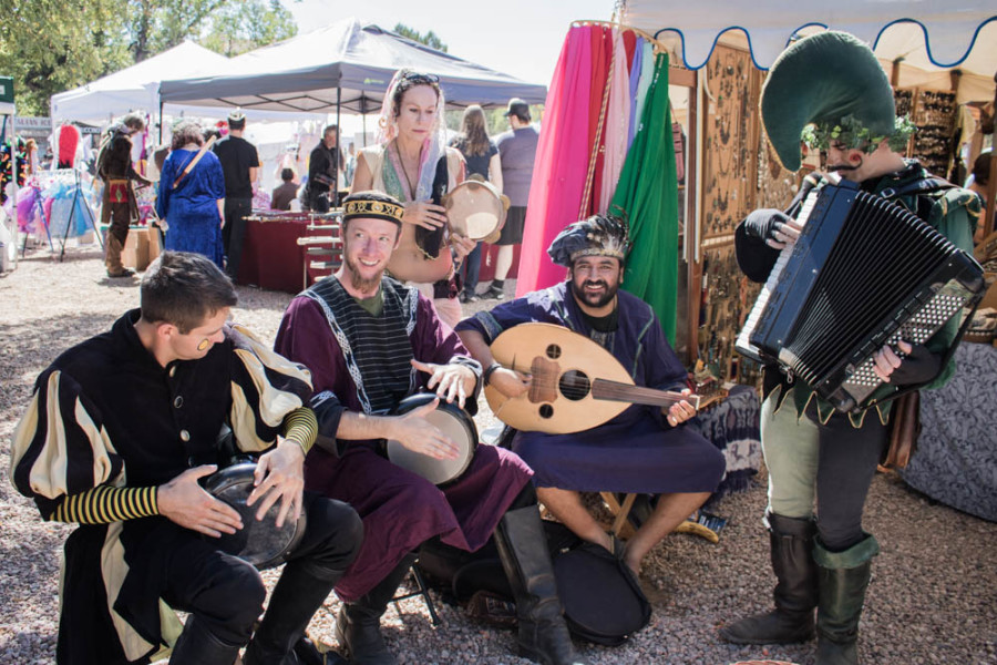 "Musical group ""The Klan"" along with Clan Tynker play period music at the Santa Fe Renaissance Fair Sept. 16. Photo by Chris Dorantes"