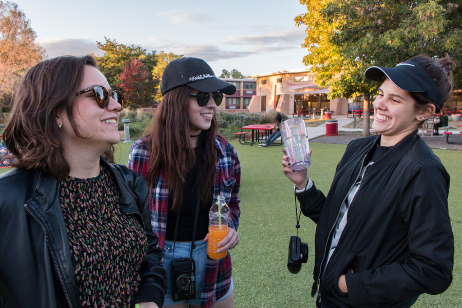 Taking in the music, drinks and laughs from left to right Ana Aguirre, Carolina Long and Alexia Moreno. Photo by Yoana Medrano.