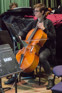 In the music department's music theory course, Lara White not only sings, but also plays her cello. Photo by Jennifer Rapinchuk