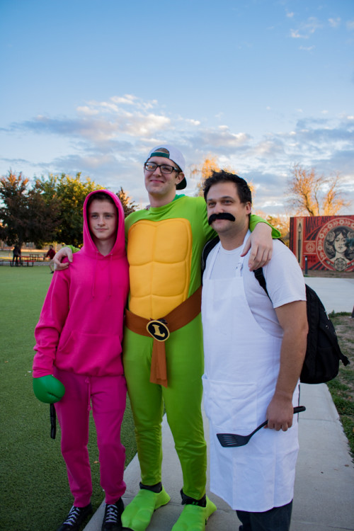 (From left) Dylan Salewski, Lucian Orsinger, and Andrew Koss show off their Halloween costumes at the Quad. Photo by Chris Dorantes