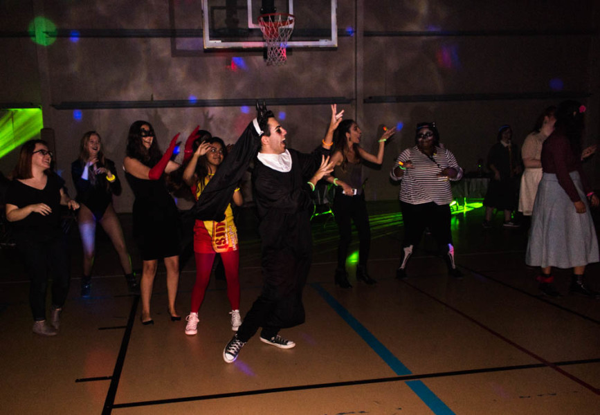 Dante Parker and his fellow Sfuadians dancing the night away at the Halloween dance to the sounds of Thriller. Photo by Yoana Medrano.