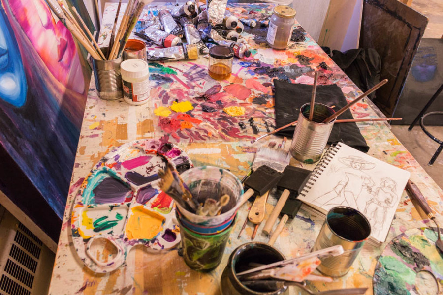 Shasta Scott's work space while she completes a project for her advanced painting class. Photo by Yoana Medrano.