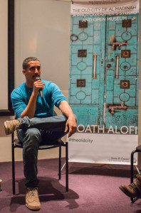 Moath Alofi answering questions after his talk on his work from The Old City of Al Madinah. Photo by Yoana Medrano.