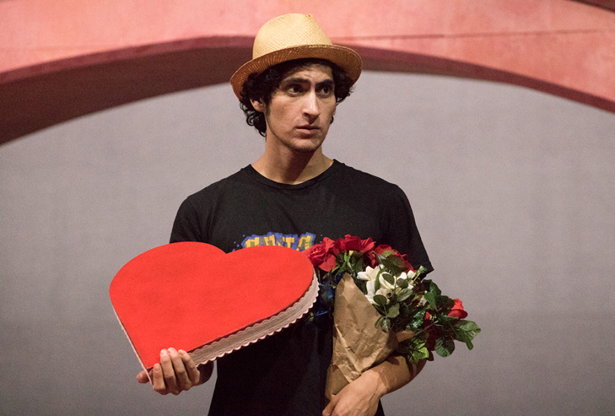 Niko'a Salas as Valentine in Shakespeare's Twelfth Night. Photo by Chris Dorantes