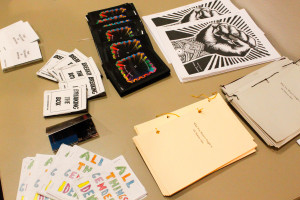 Zines made by SFUAD students are available for audience members to enjoy. Photo by Chantelle Mitchell.