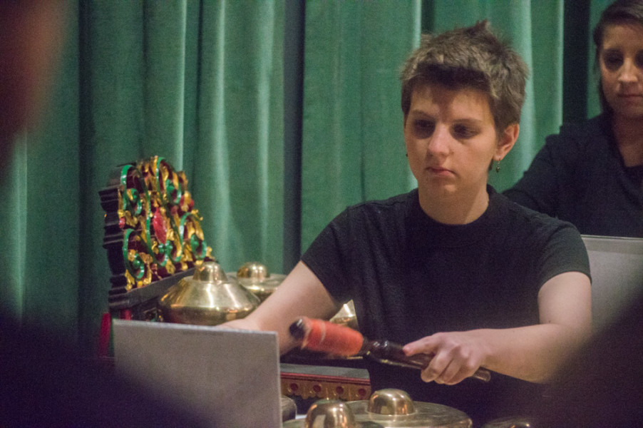 Senior Contemporary Music Major Maria Siino composed three pieces for the Gamelan ensemble to perform during her senior show. Photo by Jennifer Rapinchuk.