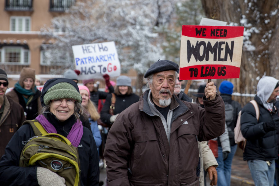 Thousands took to the street the day after Donald Trump's presidential inauguration to advocate for women's rights one the largest demonstrations in Santa Fe. Photo by Jason Stilgebouer.