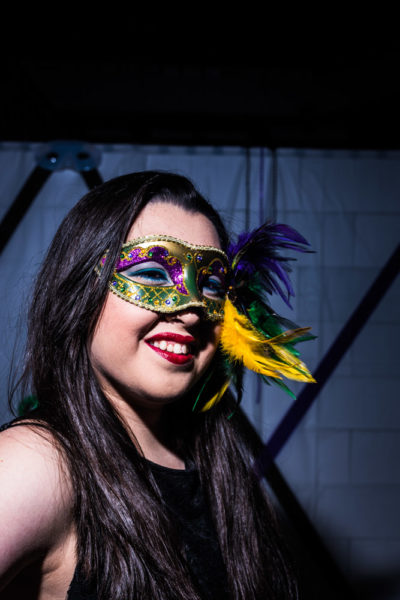 Judy Ripley models her mask. Photo by Sasha Hill