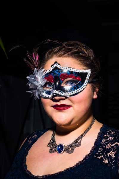 Aubrey Hicks is all dressed up for the Masquerade Ball. Photo by Sasha Hill
