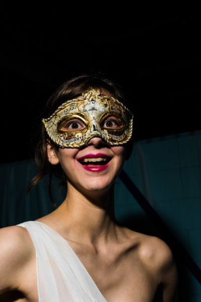 Victoria Bell, a junior Theater major, enjoys herself at the Masquerade Ball. Photo by Sasha Hill