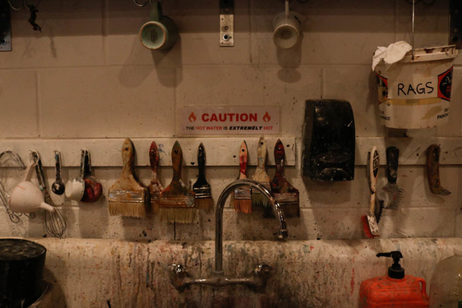 Pictured here is the wash station primarily used for paint brushes. Photo by Jesus Trujillo