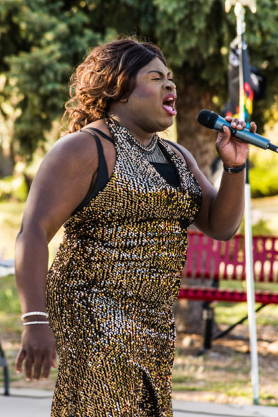 CoCo Caliente singing I Know Where I Have Been by Queen Latifah. Photo by Sasha Hill