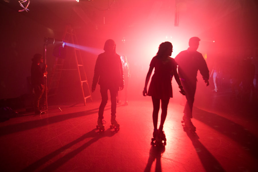 Students gather to skate for free at Rockin Roller Rink as extras to be a part of the music video. Photo by Jason Stilgebouer