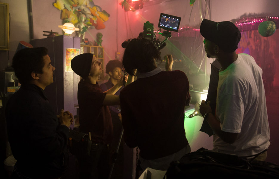 La Charles Trask and crew setting up a shot for his music video. Photo by Jason Stilgebouer