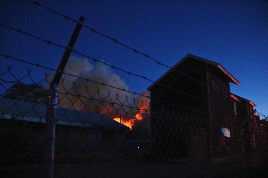 The fire could be viewed from the barracks fence. Photo by Richard Sweeting.