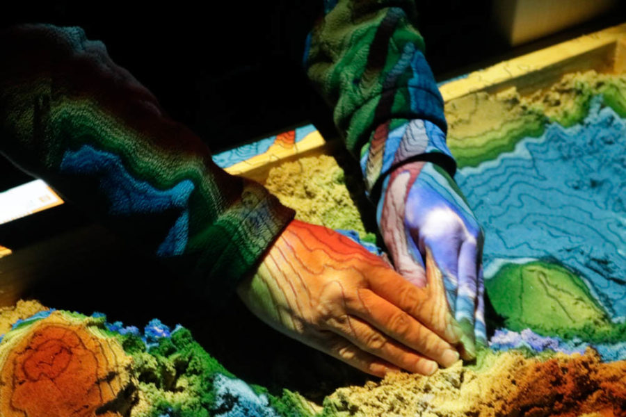 Close up of the interactive sandbox at this years Outdoor Vision Fest. Photo by Jesus Trujillo.