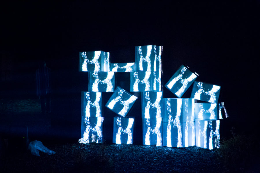 a Video Mapping sculpture at outdoor vision festival. Photo by Jason Stilgebouer