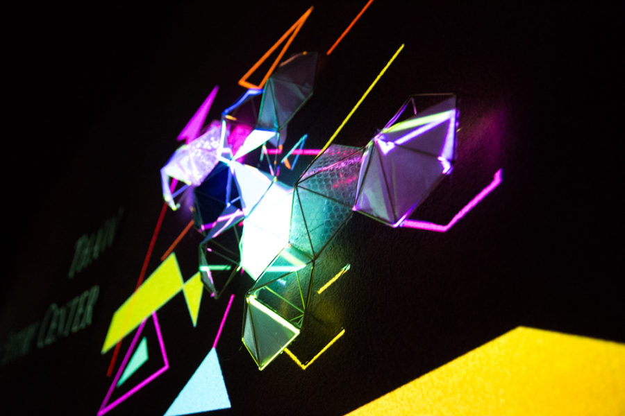A video mapping display at outdoor vision festival. Photo by Jason Stilgebouer