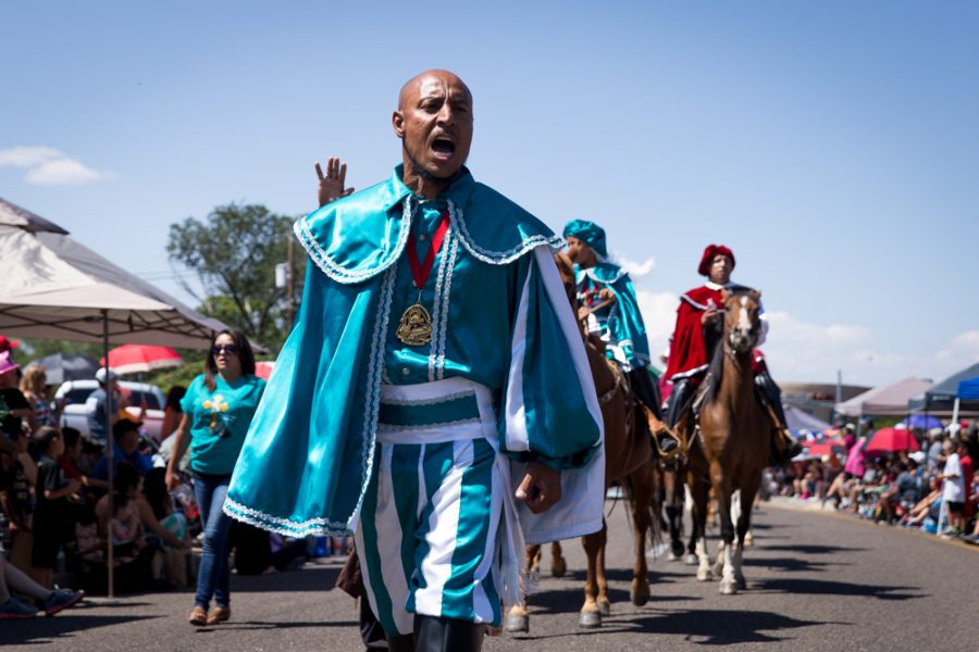 Ralph Martinez leads the Onate y Los Caballeros from Española, during the  Historical Hysterical Parade during Fiestas on Sept. 10, 2017. Photo by Jason Stilgebouer