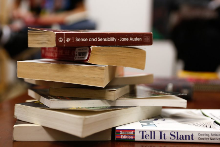 The variety of books that were brought to the book swap were left on the table during the event held by the Student Writers Association. Photo by Jason Stilgeboeur