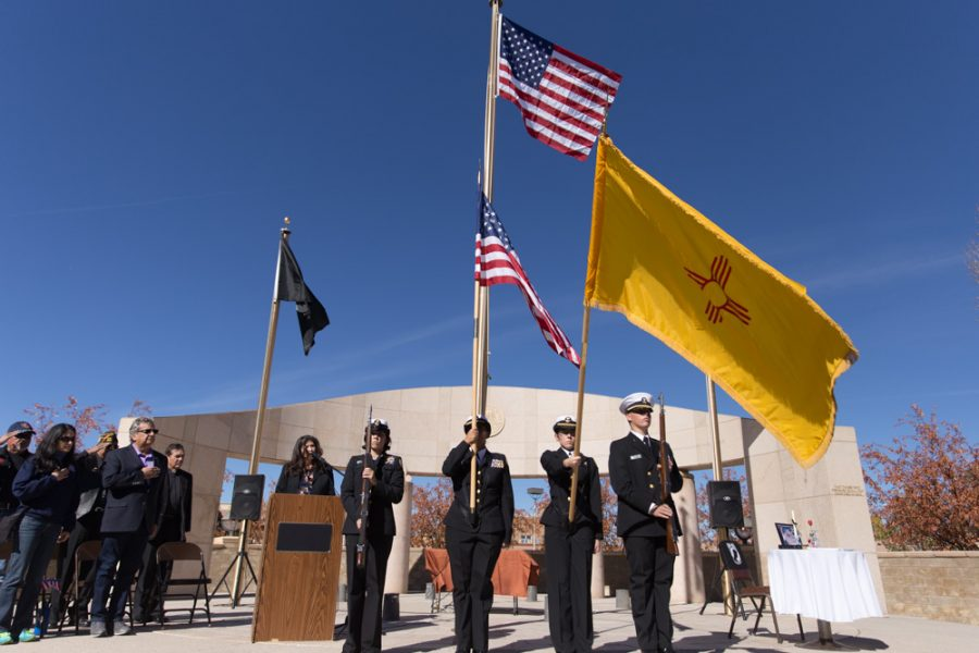 The parade was followed up by the Veterans Day ceremony at the Santa Fe Veterans Memorial with the posting of the colors led by Santa Fe High School Naval JROTC Color Guard. Photo by Jason Stilgebouer