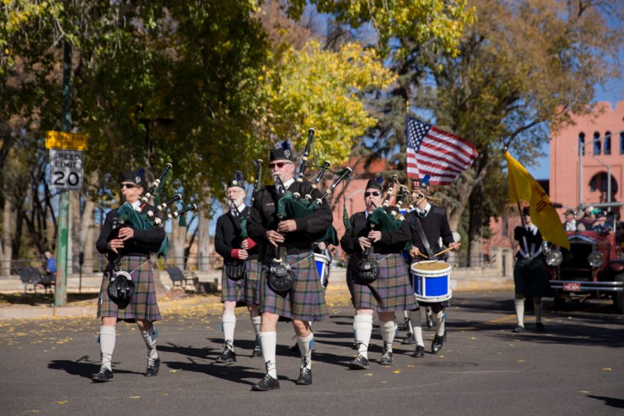 The annual Veterans Day parade started on Bishops Lodge Road, as it made its way downtown led by Scottish bagpipes. Photo by Jason Stilgebouer