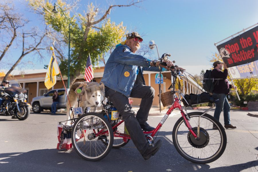 Navy Vietnam War veteran Ray Masterson rides his bike during the annual Veterans Day Parade, as it makes its way through town with his dog Dawson on the back. Photo by Jason Stilgebouer