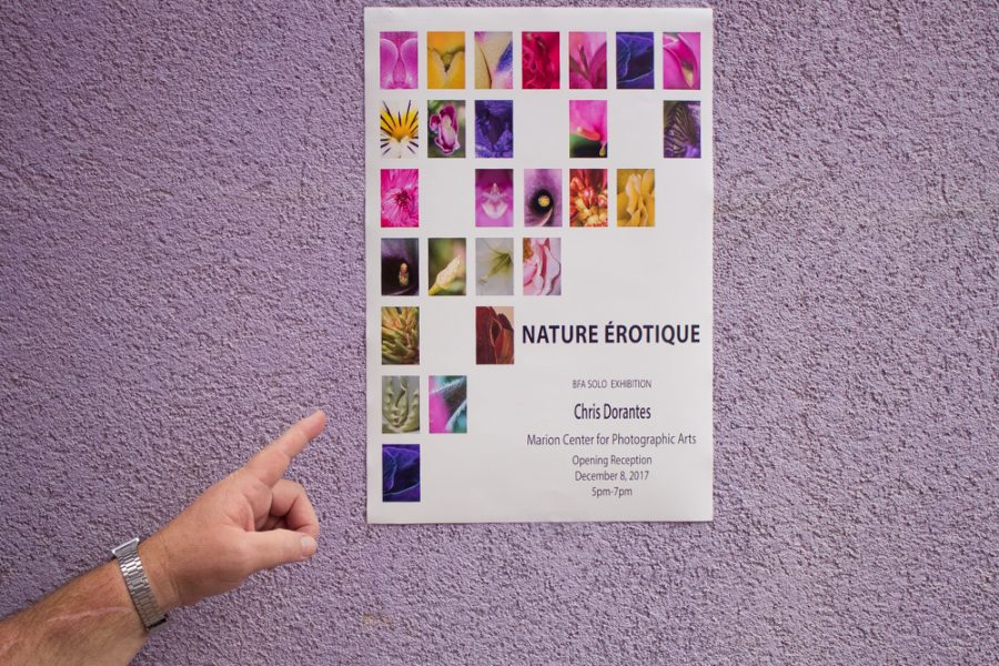 "Chris Dorantes' BFA solo exhibition  ""Nature Érotique,"" takes place on Dec 8, 5-7 p.m. at the Marion Center for Photographic Arts."