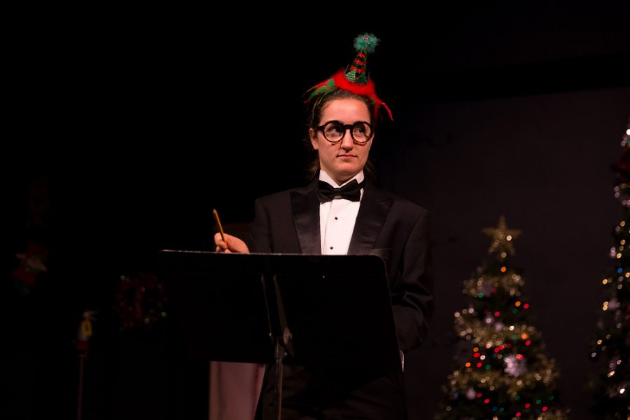 Sicily Ranieri character performs as the pianist during the 'The Semi-Amazing, Sort of Sensational, Almost Unbelievable Christmas Spectacular' photo by Jason Stilgebouer.